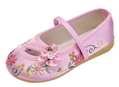 f4c4f839b5217 SK Studio Fille Mary Jane Chaussures Chinoises Fait Main Vintage Broderie  Ballerines Fleur Design Chaussures de