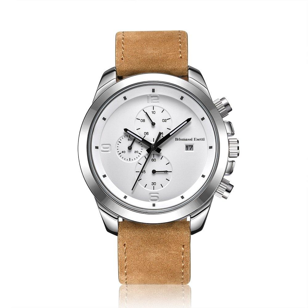 Wrist Watches Mens Minimalist Quartz Wristwatch Chronograph Light Brown Genuine Leather Luxury Watch by Brismassi Esetti