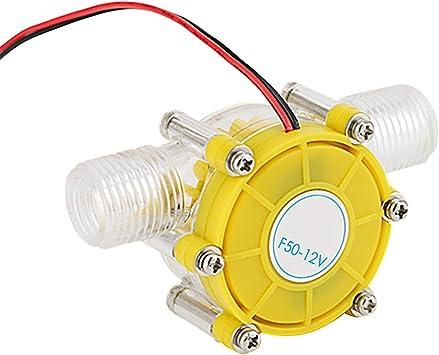 12V Generador Turbina Agua Microhidráulica Imán Neodimio Presión Agua Ultrabaja Iniciar Agua Hidroeléctrica Energía Bricolaje (Yellow)