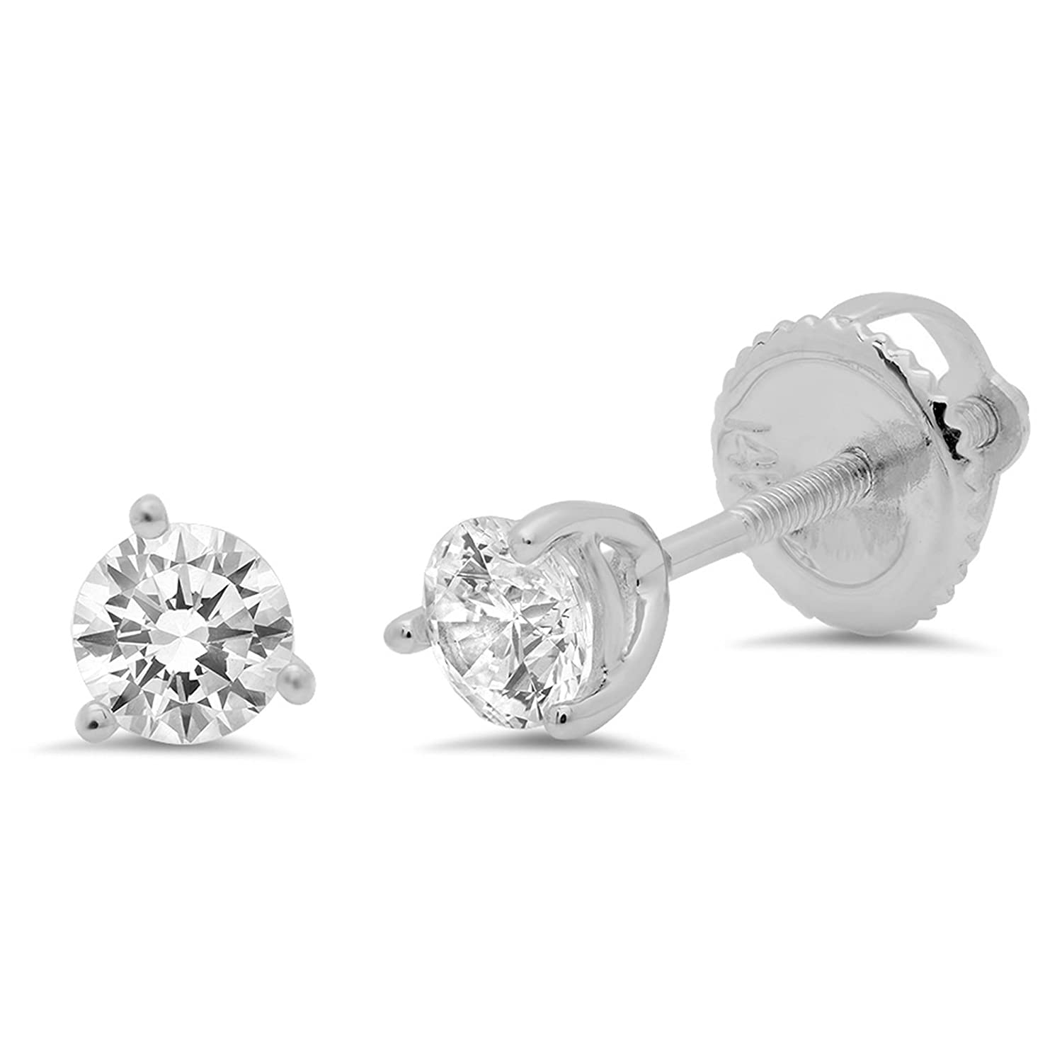 9e15bad9b71 Amazon.com  Clara Pucci 0.40 CT Round Cut Solitaire Martini Style Stud  Earrings in 14k White Gold Screw Back  Jewelry