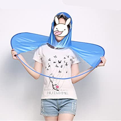 HUWAI Creatividad OVNI Impermeable Portátil Plegable Headwear Impermeables Manos libres Paraguas Sombrero Cap para Niños Adultos