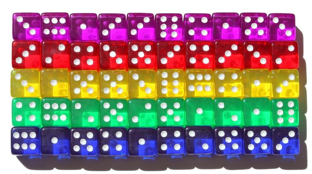 High City Books 50 6-Sided Dice   16mm   5 Colors by High City Books (Image #3)