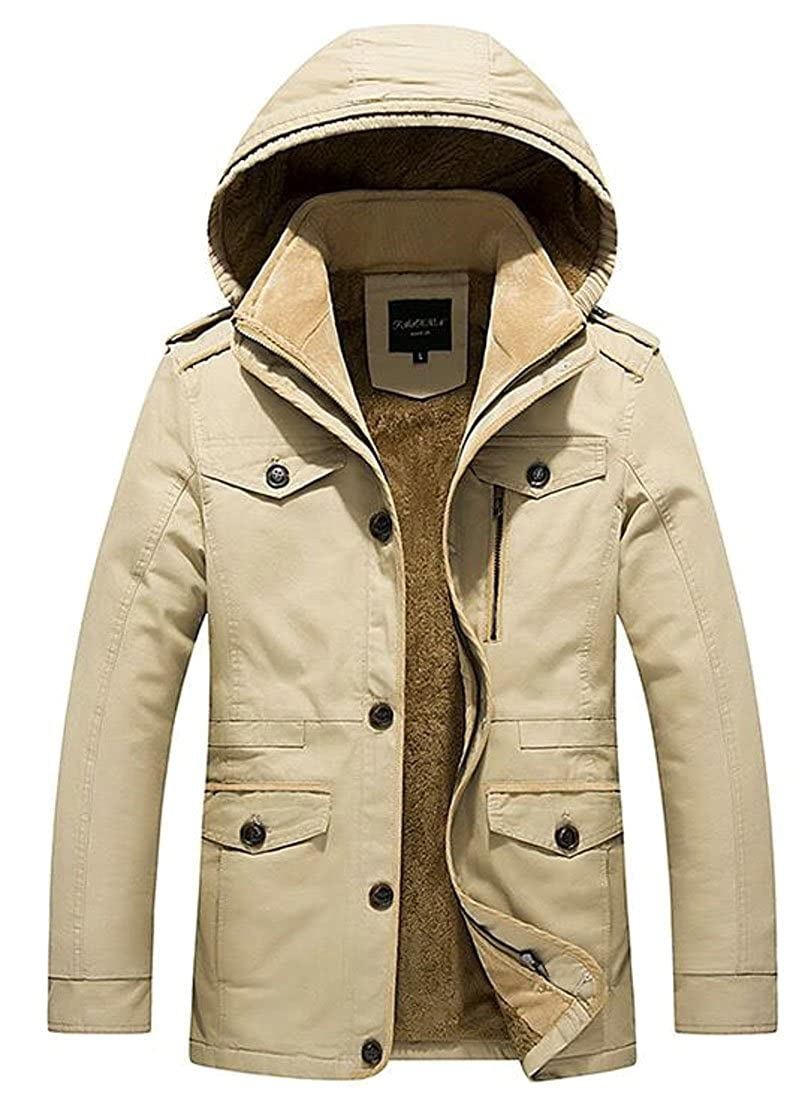 Hokny TD Men Winter Thicken Fleece Lined Outwear Coat Jacket With Hoodie
