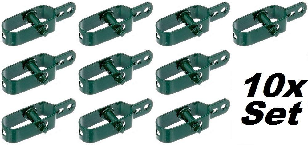 2 Stück Drahtspanner Zaunspanner grün Metall für Spanndraht 100mm Spanner
