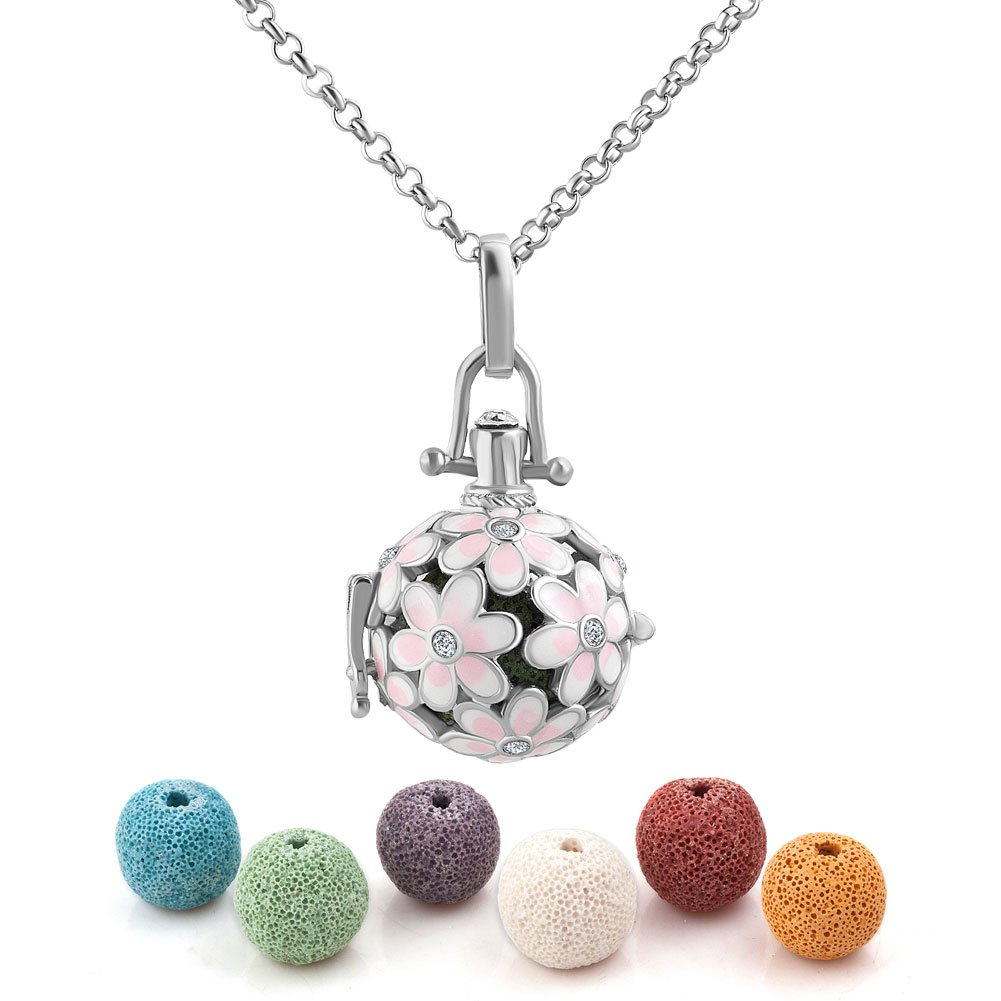 Third Time Charm Natural Lava Rock Stone Pink Flower Aromatherapy Essential Oil Diffuser Necklace Locket Pendant With 6 Lava Beads (Silver Plated)