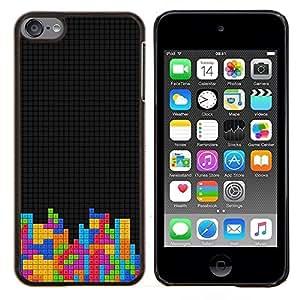 KLONGSHOP // Cubierta de piel con cierre a presión Shell trasero duro de goma Protección Caso - Enfriar Bloques T3Tris Juego - Apple iPod Touch 6 6th Touch6 //