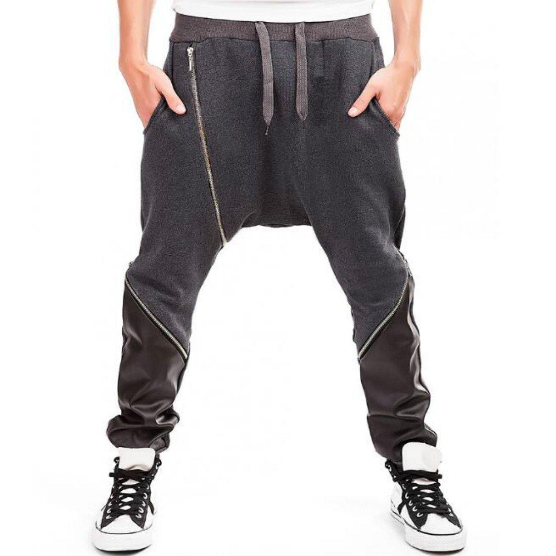 Colygamala Men's Sport Low Crotch Zipped Jogging Pants Hip Hop Harem Trousers