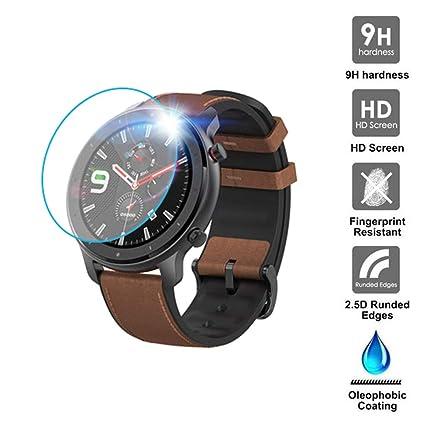 Qomomont 1/3PACK Compatible con Reloj Inteligente AMAZFIT GTR Smart Watch 47mm Vidrio Templado Protector de Pantalla para AMAZFIT GTR