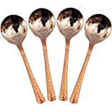 Indian Art Villa Steel and Copper Cutlery Spoon, Silver (Set of 4)