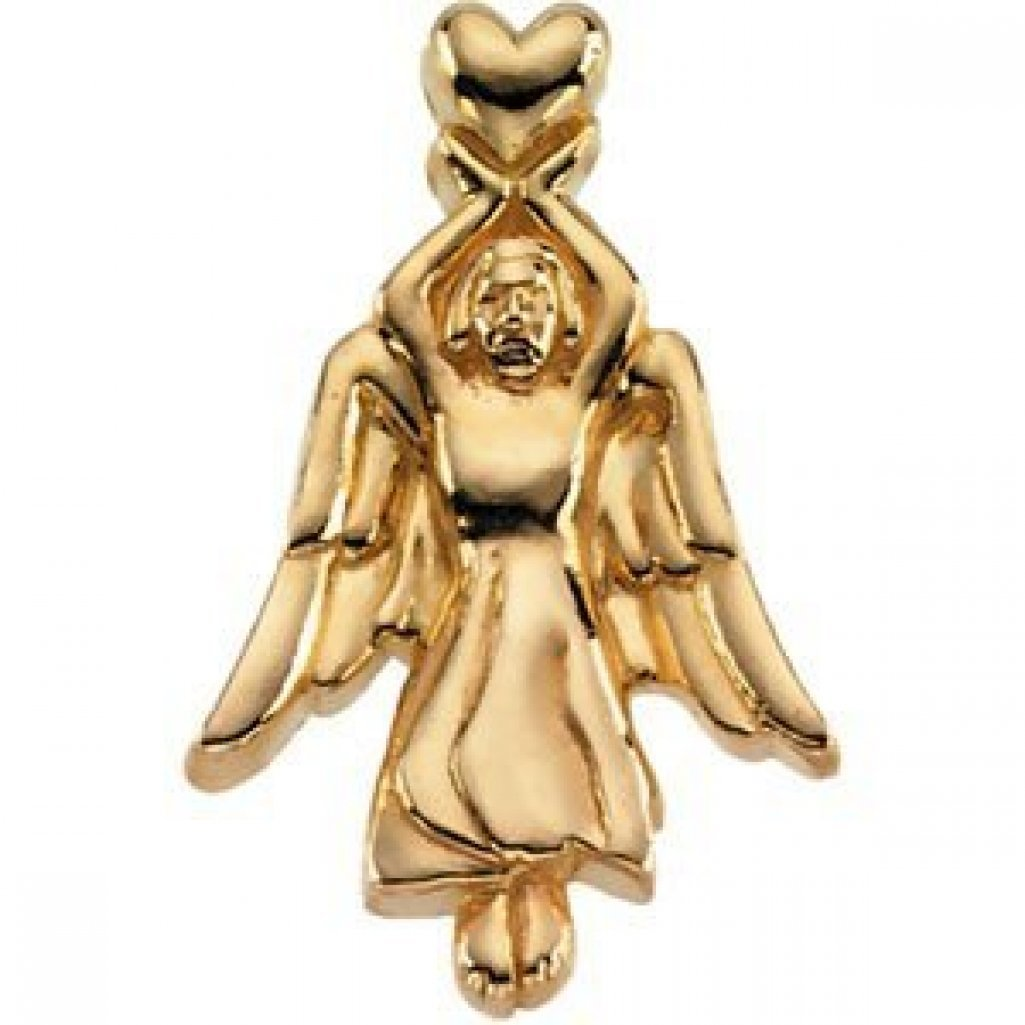 ANGEL LAPEL PIN - 14K Yellow Gold- 2/3 Inch X 3/4 Inch