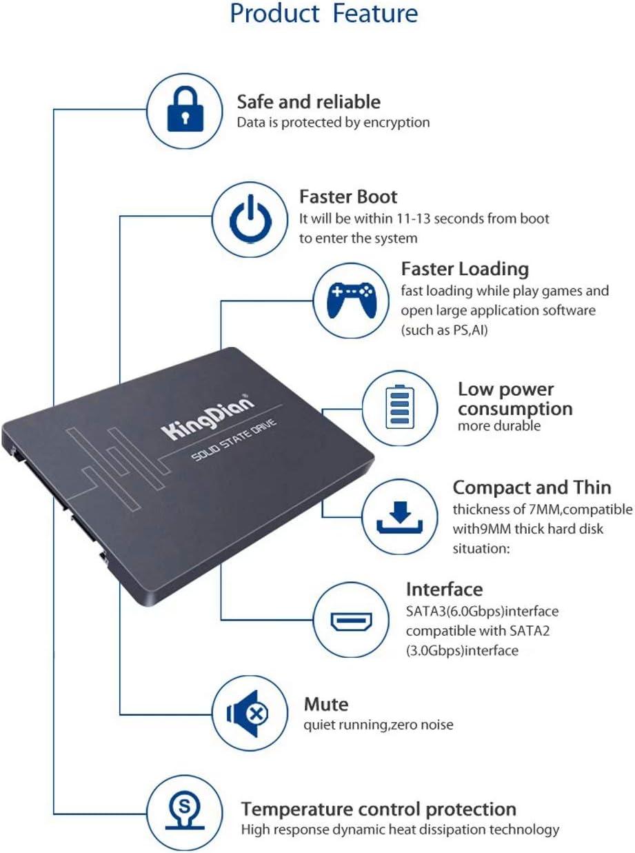 KingDian 2,5 Zoll SATA 6 Gb//s High Speed interne SSD 120 GB 128 GB f/ür Tablet Desktop PC bis zu 562 MB//S S280 120 GB