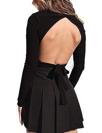 7883994b5b630 Joeoy Women s Black Long Sleeve Turtle Neck Tie Back Backless Open Back Crop  Top Knit Sweater