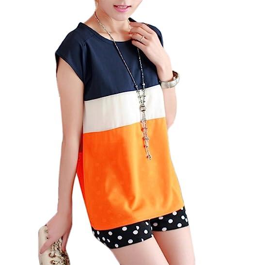 Verano Mujer Camisetas Moda Color Splicing Blouses T-Shirt Blusa Casual Cuello Redondo Manga Corta Camisas Tops Sweatshirt Pullover: Amazon.es: Ropa y ...