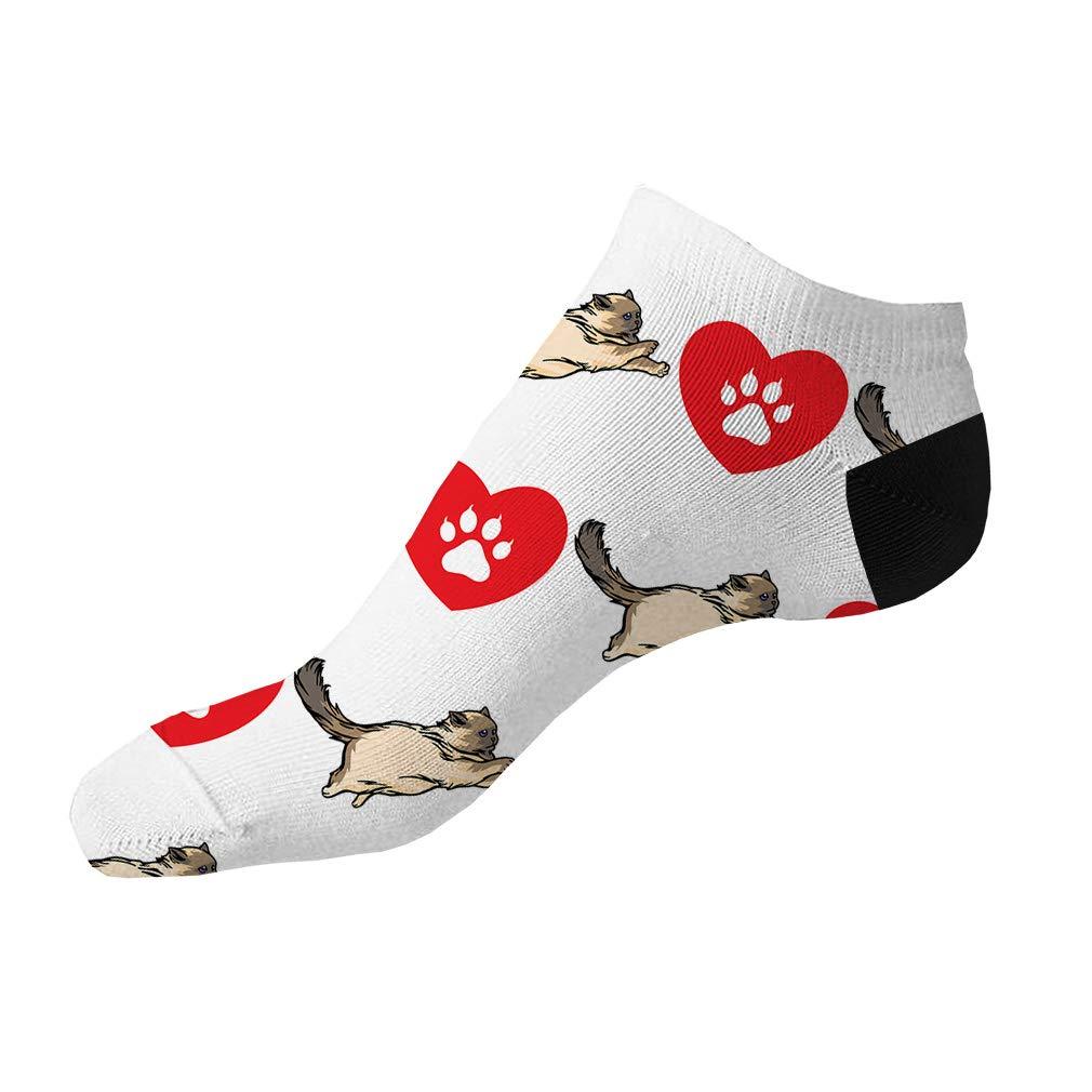Birman Cat Heart Paws Pattern #1 Men-Women Adult Ankle Socks Novelty Socks
