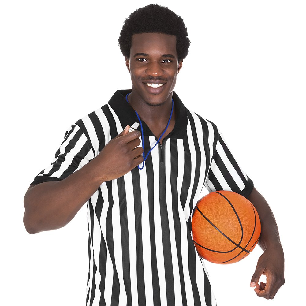 Crown Sporting Goods Men's Official Striped Referee/Umpire Jersey