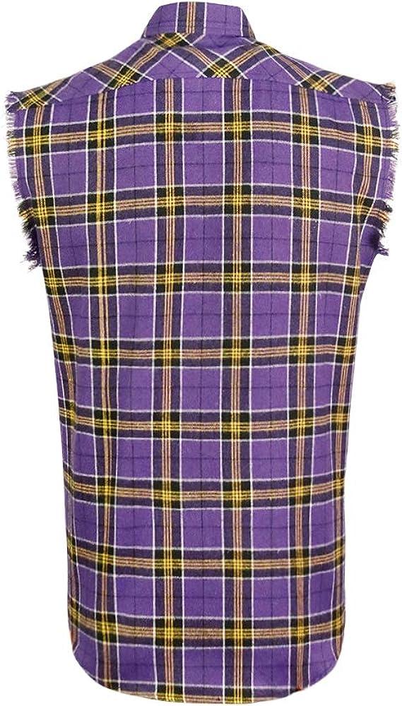 Camisa sin mangas para hombre, vaquero con botones - Morado - XX-Large: Amazon.es: Ropa y accesorios