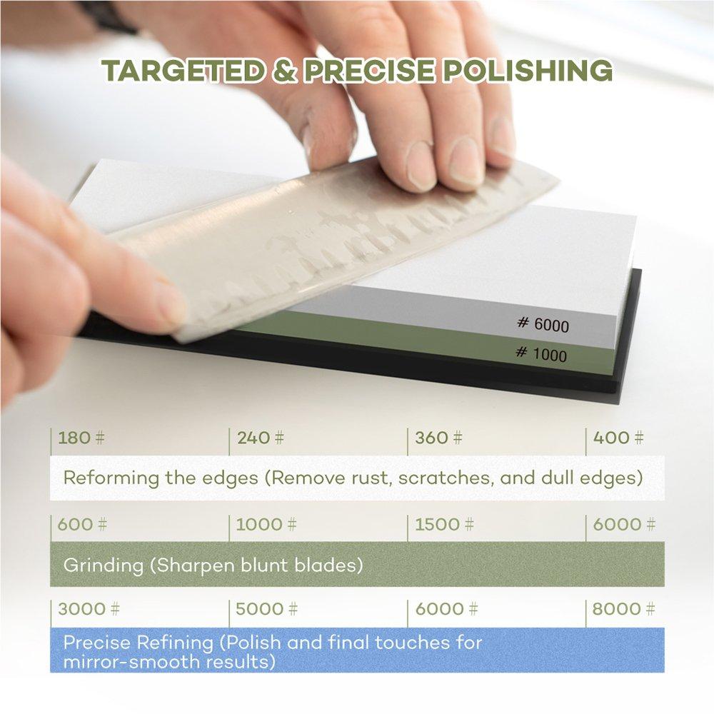 Whetstone, Premium Knife Sharpener Sharpening Stone Water Stone Kit by PaiTree, Safe Honing Holder Silicone Base Included (1000/6000 Grit) by Paitree (Image #3)