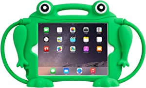 Kids Case for iPad Mini 1 2 3 4 5 - CHIN FAI [Eye Popping Frog] Shockproof Silicone Handle Stand Protective Cover for Apple 5th Generation iPad Mini 2019 and iPad Mini with Retina Display (Green)