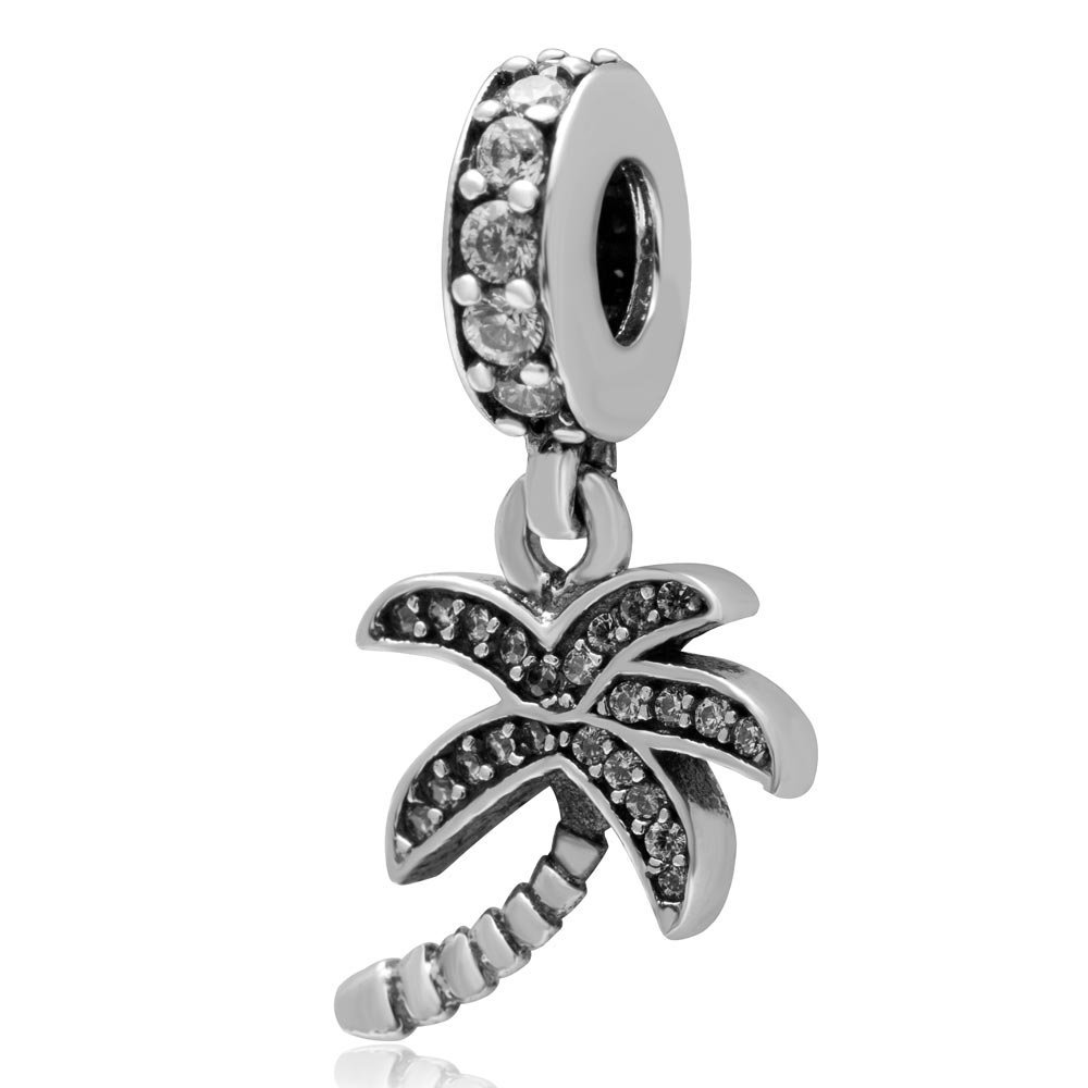 Coconut Tree Charms Pendant Authentic 925 Sterling Silver Palm Dangle Charms Summer Charm