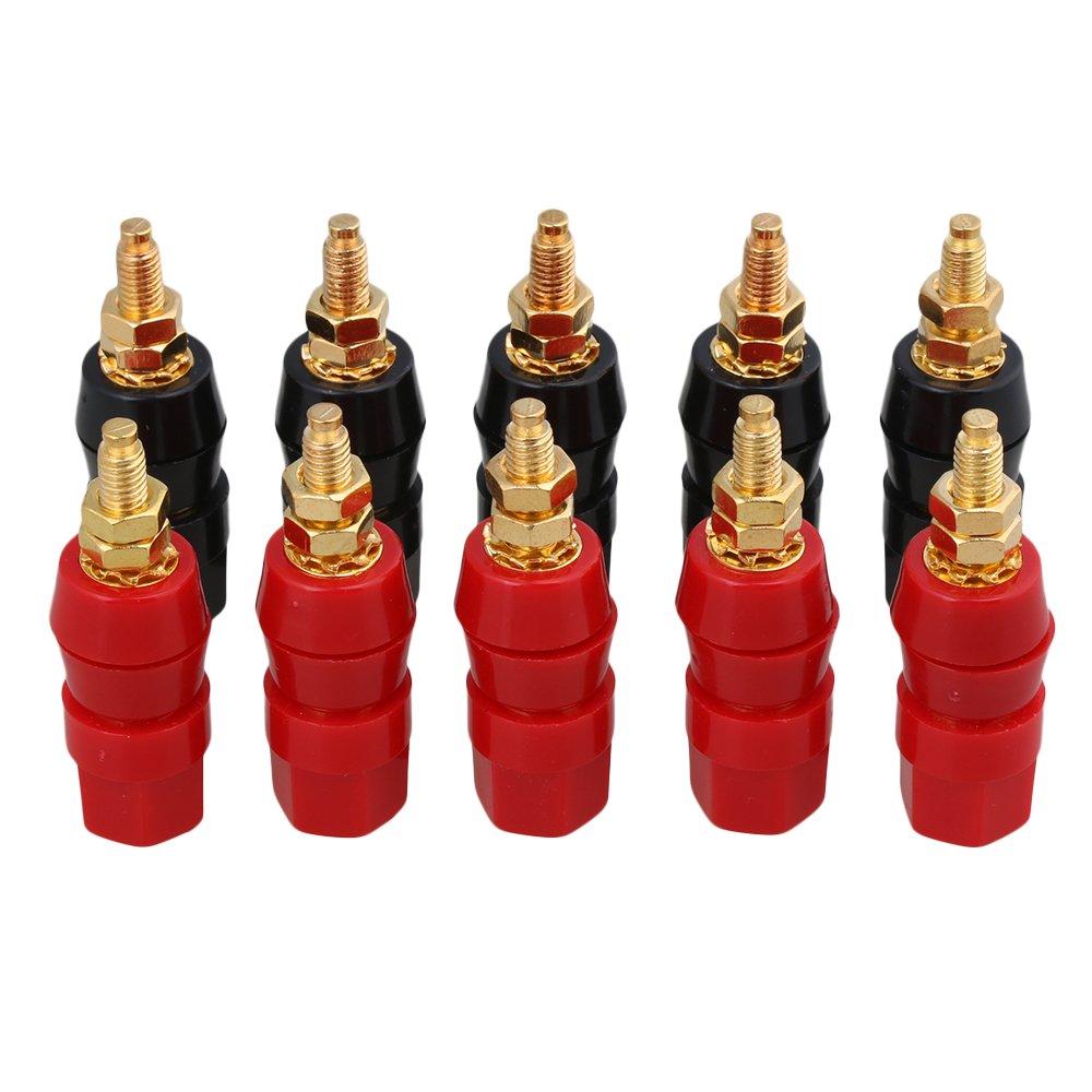 BQLZR Black + Red 4mm Audio Amplifier Terminal Insulated Binding Post Banana Plug Jack Socket Pack of 10 N09451
