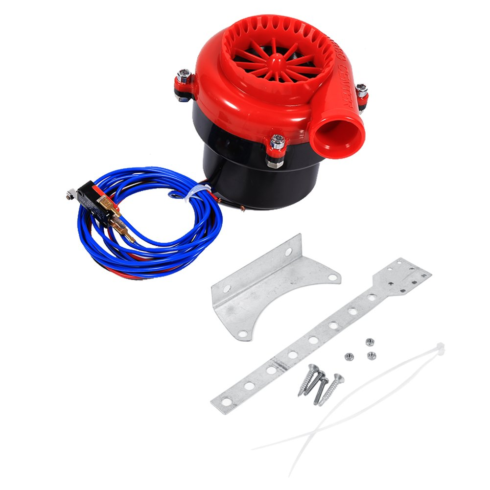 Car Electronic Fake Dump Turbo Valve, Blow Off Hooter Valve Analog Sound BOV Simulator Kit with Mounting Bracket & Mounting Accessories Red Keenso