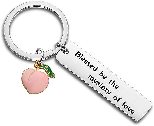 """Portachiavi pesca con scritta /""""Blessed Be the Mystery of Love/"""""""