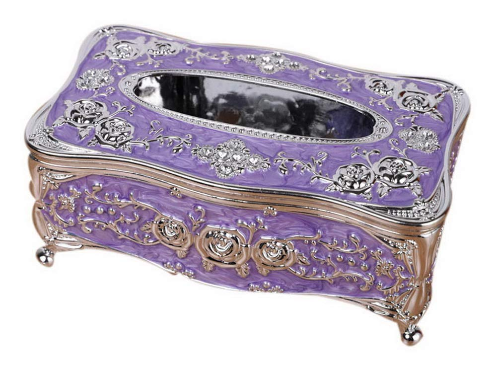 Gentle Meow Luxury European Tissue Box, Household KTV Coffee Table Napkin Box, Silver Purple