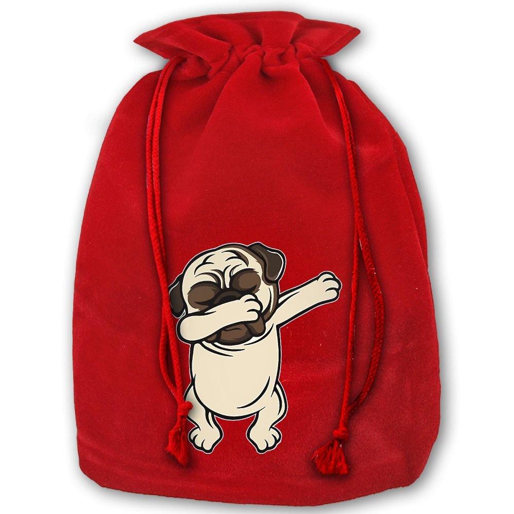 Funny Dabbing Pug Red Christmas Drawstring Bags / Santa\'s Trouser ...