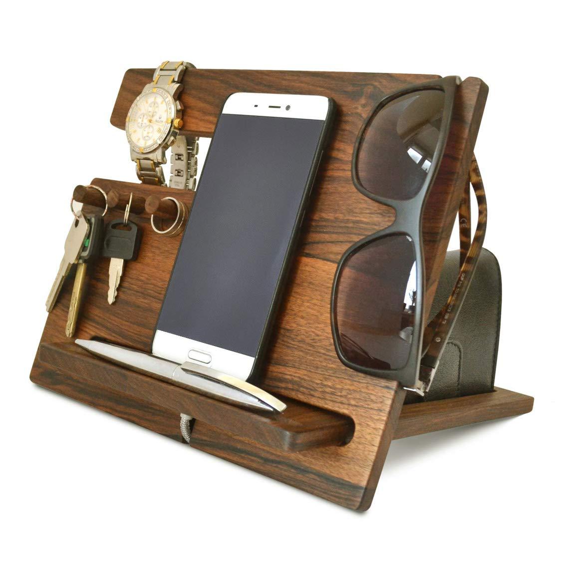 Wood Phone Docking Station, Walnut Desk Organizer, Tablet Holder, Key Hooks, Coin, Wallet, Watch Stand, Handmade Men Graduation Gift, Husband Anniversary, Dad Birthday Idea, Nightstand for Him, Gadget
