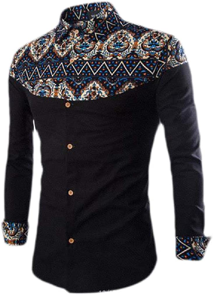 Cromoncent Men Lapel Neck Ethnic Style Printed Long Sleeve Button Down Shirts