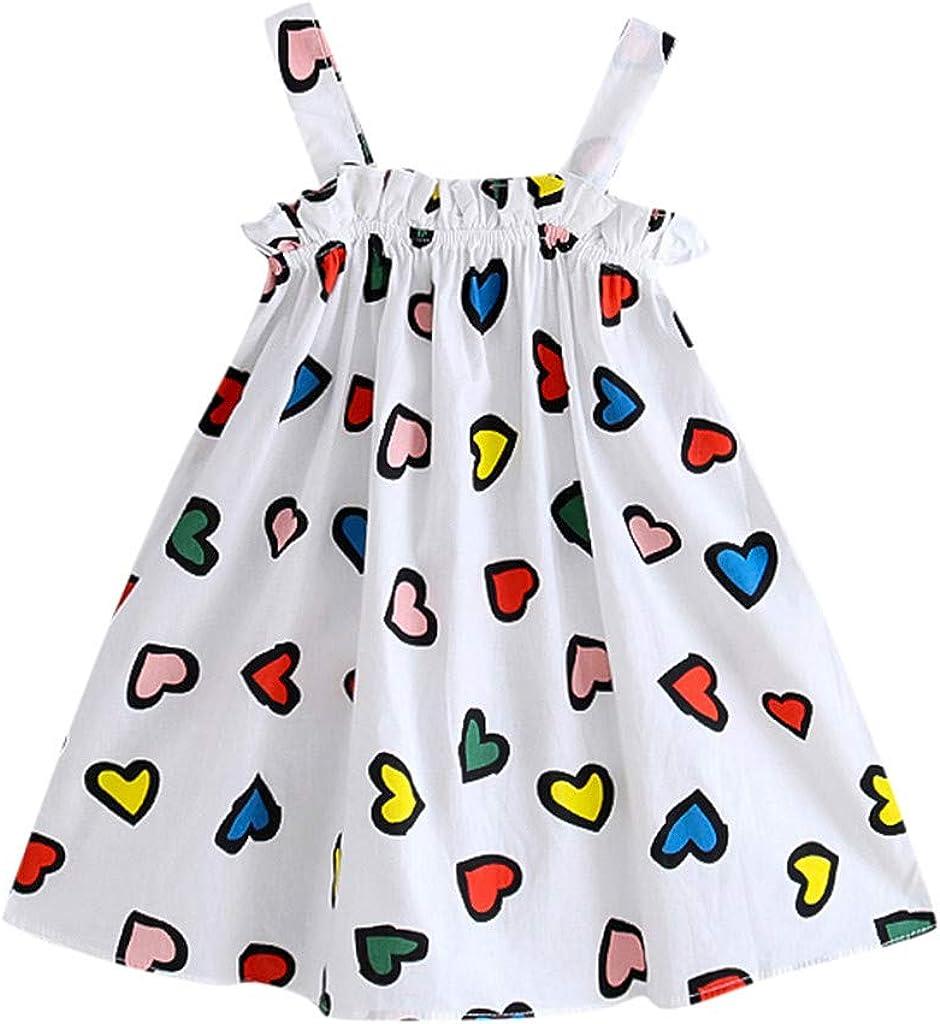 Fossen Vestidos Beb/é Ni/ña Verano Falda de Chaleco con Estampado de Amor y Rayas de Dibujos Animados sin Mangas Vestido de Princesa Ropa Bebe Ni/ña 6M-4Y