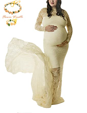Sicily Full Lace Maternity Maxi Dress Photography Props Long