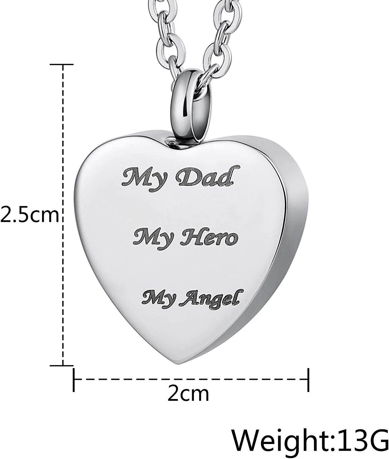 MoAndy Stainless Steel Ashes Pendant Urn Necklace for Men Women Heart Shape My Dad My Hero My Angle
