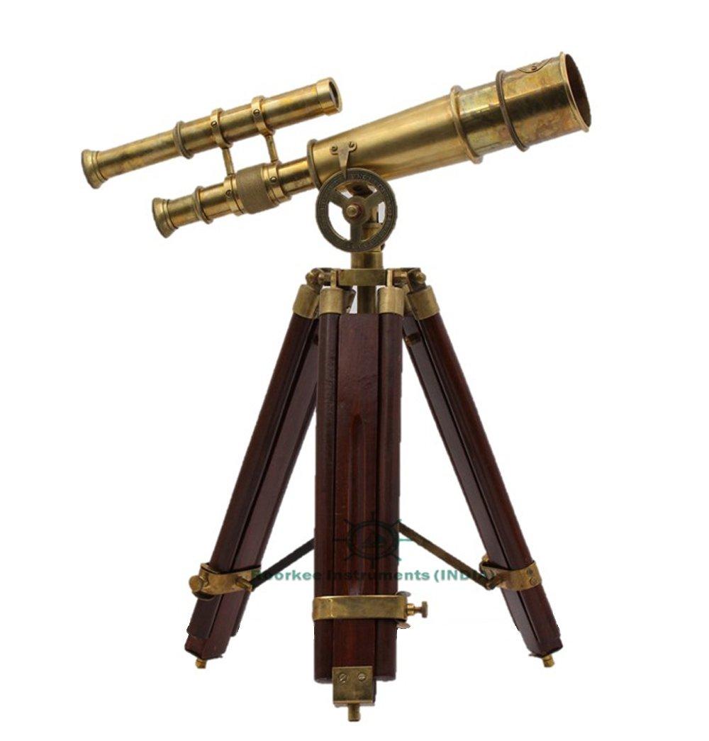 Roorkee Instruments India Vintage Antique Tripod Telescope Brass Nautical Telescopes