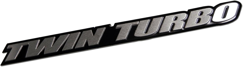 Empire Racing Parts Twin Turbo Aluminum Emblem Badge for Nissan 300ZX Z32 G35 Skyline GTR GT-R 350Z Maxima Ultima Subaru WRX STi