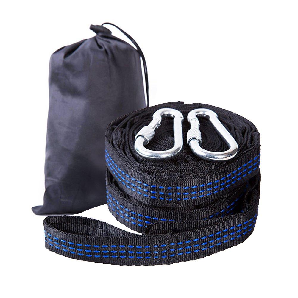 Serda Hammock Straps, 10 Feet Hammock Tree Hanging Straps(Set of 2) W 2 Heavy Duty Lock Snap Hook Carabiners Carrying Bag, Fits All Hammocks (Blue)