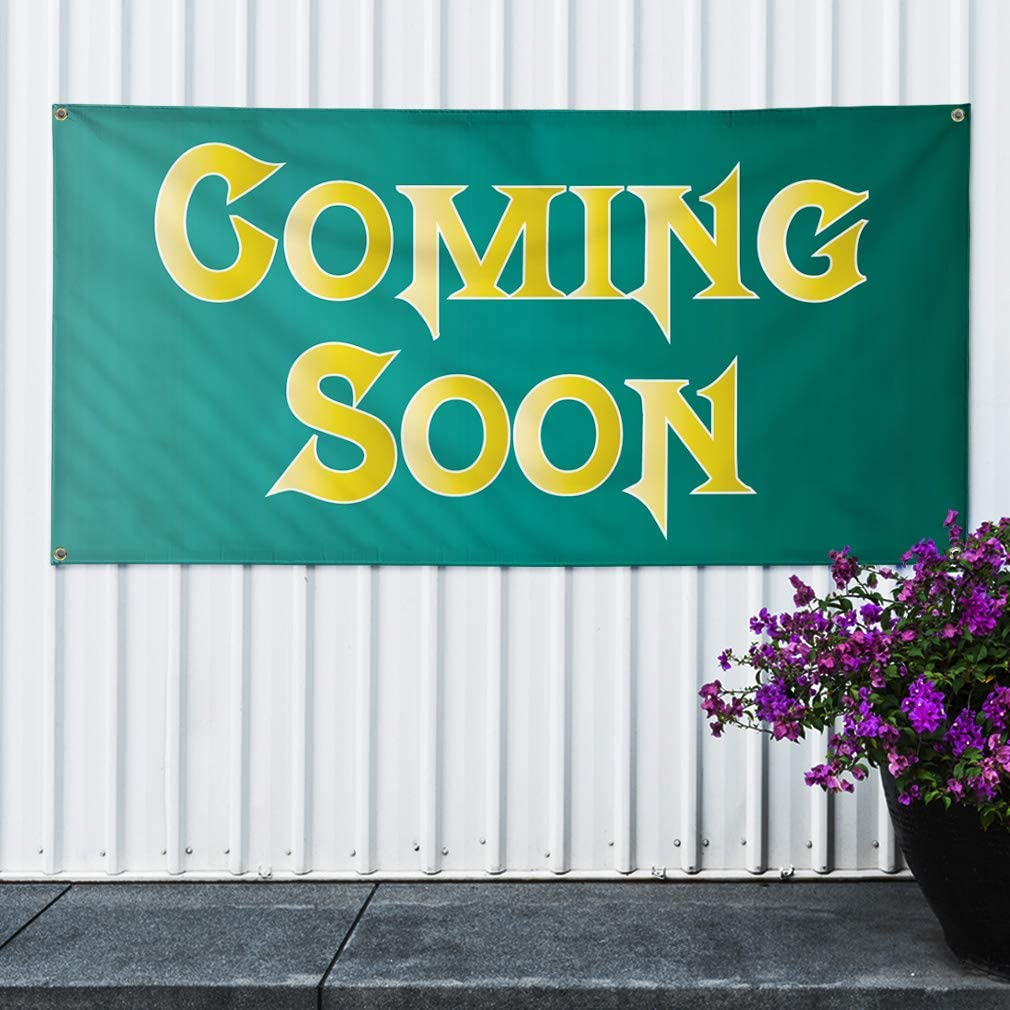 44inx110in One Banner 8 Grommets #2 Business Stay Tune Marketing Advertising Green Multiple Sizes Available Vinyl Banner Sign Coming Soon
