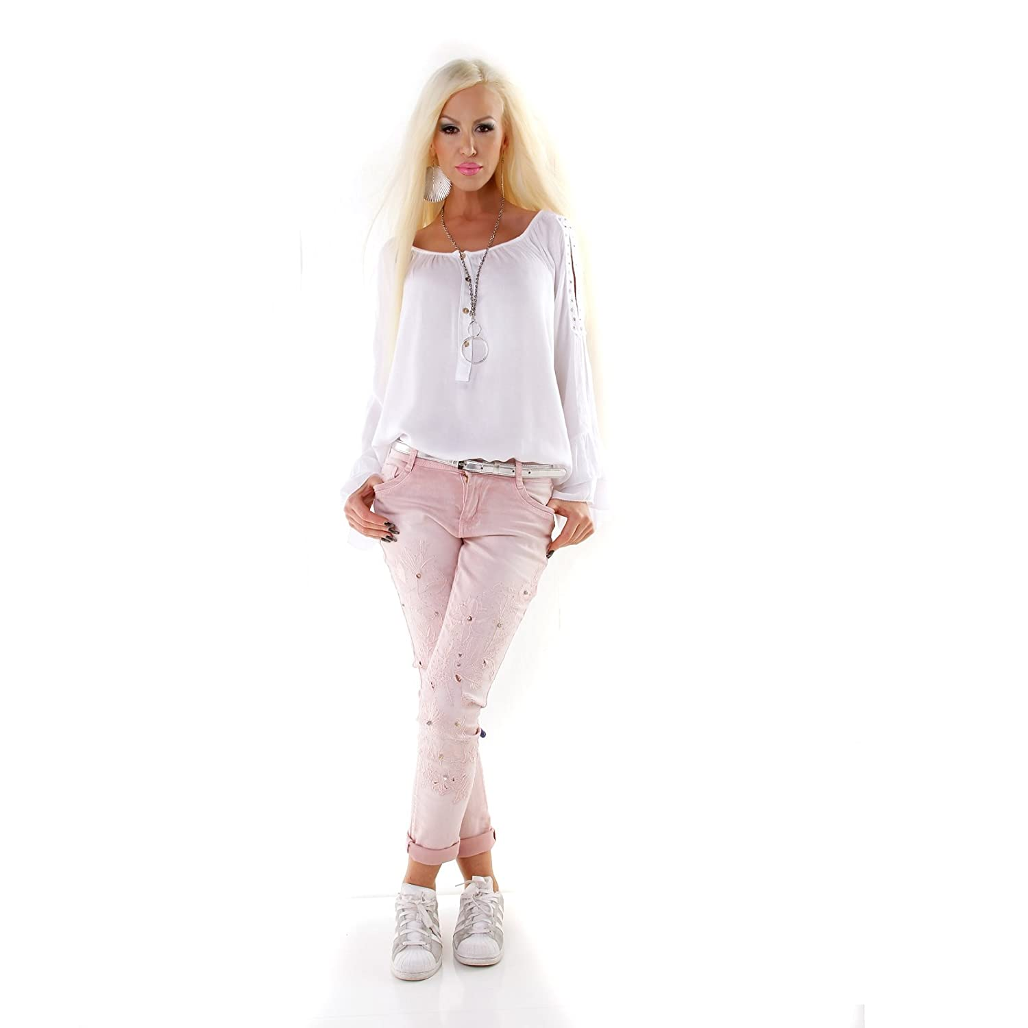 Women/'s Glam Skinny Light Grey Jeans with Embroidered legs and studs UK 8-16