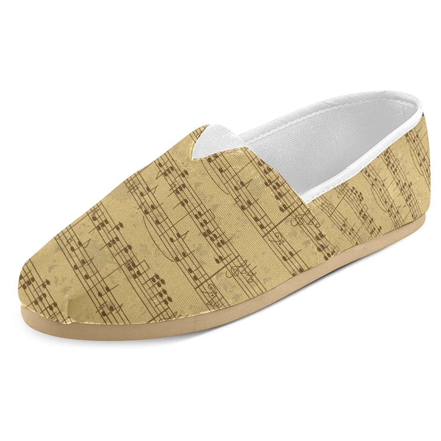 InterestPrint Music Note Casual Women's Canvas Slip-On Shoes Espadrille