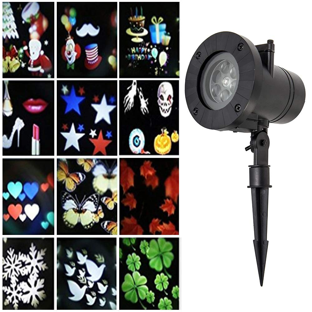 Christmas Projector Lights 12 Patterns Waterproof Outdoor Projector Light Romance Maker Spotlight Led Landscape Rotating Valentine Birthday Wedding Party Home Decoration FlowersSea