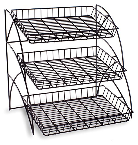 - Displays2go 3-Tiered Wire Shelving Display Rack for Tabletop Use, Black