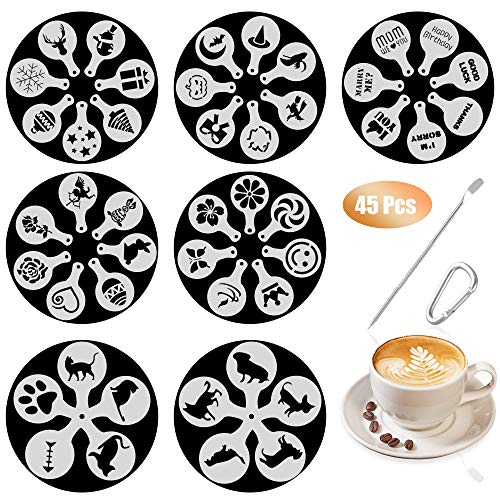 SOSMAR 45 Patterns Coffee Stencils Latte Art Cappuccino Templates Letters/Dogs/Cats/Love for Decorating Foamy Drinks, Hot Chocolate, Cupcakes, Cookies