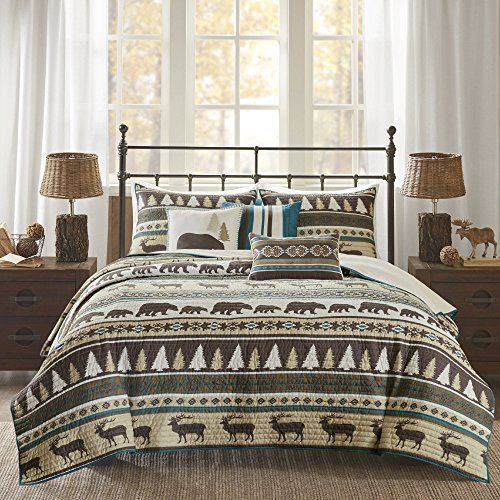 6 Piece Brown White Stripe Full Queen Coverlet Set, Lodge Animal Print Themed Bedding, Cabin Country Tartan Pattern Cottage Woods Hunting Bears Deer Pine Trees Horizontal Diamond Patterns , Polyester by D&A