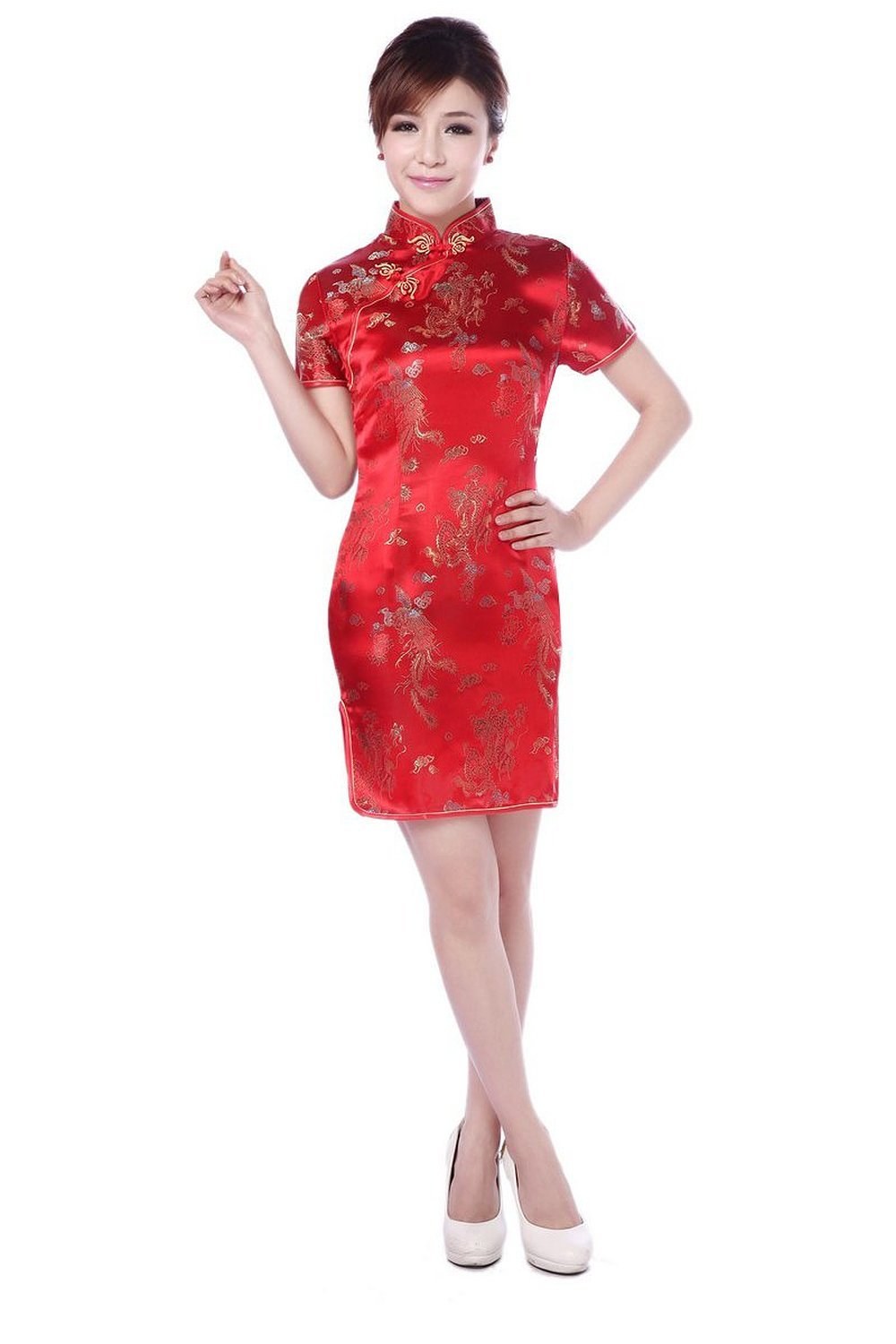 AvaCostume Women's Chinese Dragon Phoenix Qipao Cheongsam Embroidery Dress Size US 12 Red