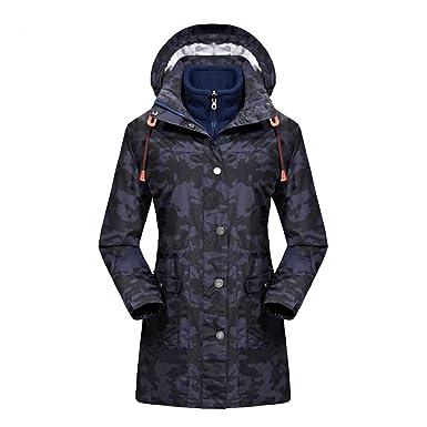 emansmoer Femme 3 en 1 Camo Outdoor Hiver Longue Manteau avec Veste Polaire Imperméable  Sport Veste 2b1dab4efcea