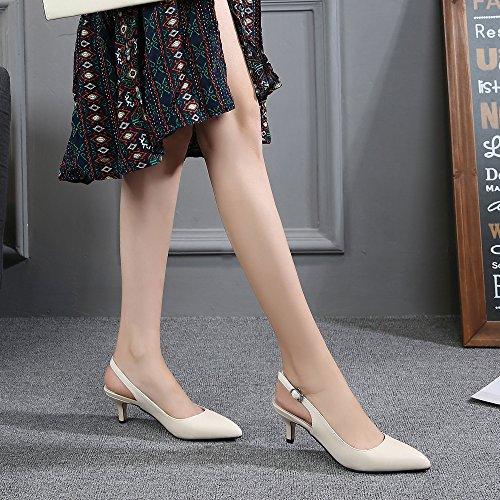 OCHENTA Womens Pointed Toe Slingback Dress Court Shoes UK Size 2.5-8 Beige-pu 9J9Sxnk9fB