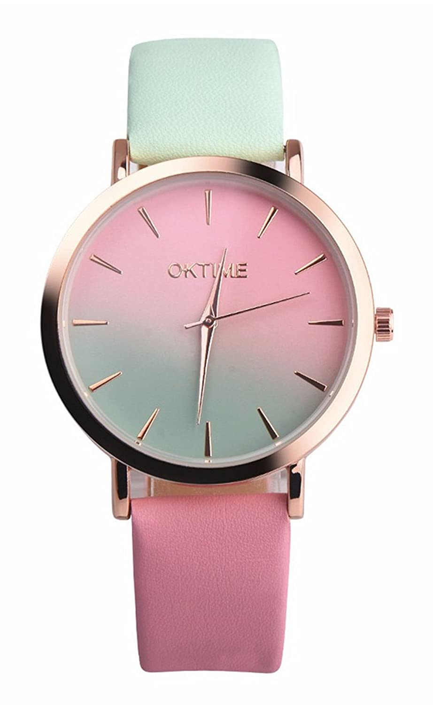 女性用レインボー腕時計メスWatches CookiのクリアランスSale Lady Watches Cheap Watchesレザーwatch-h15 3.8cm Green pink B075JGWVFV