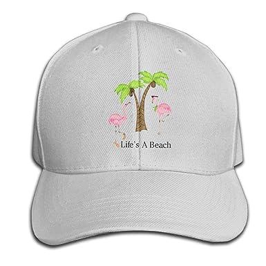 c6a1903f11e399 Mjkdifgo Life's A Beach Flamingo Baseball Cap for Men Trucker Style Hat