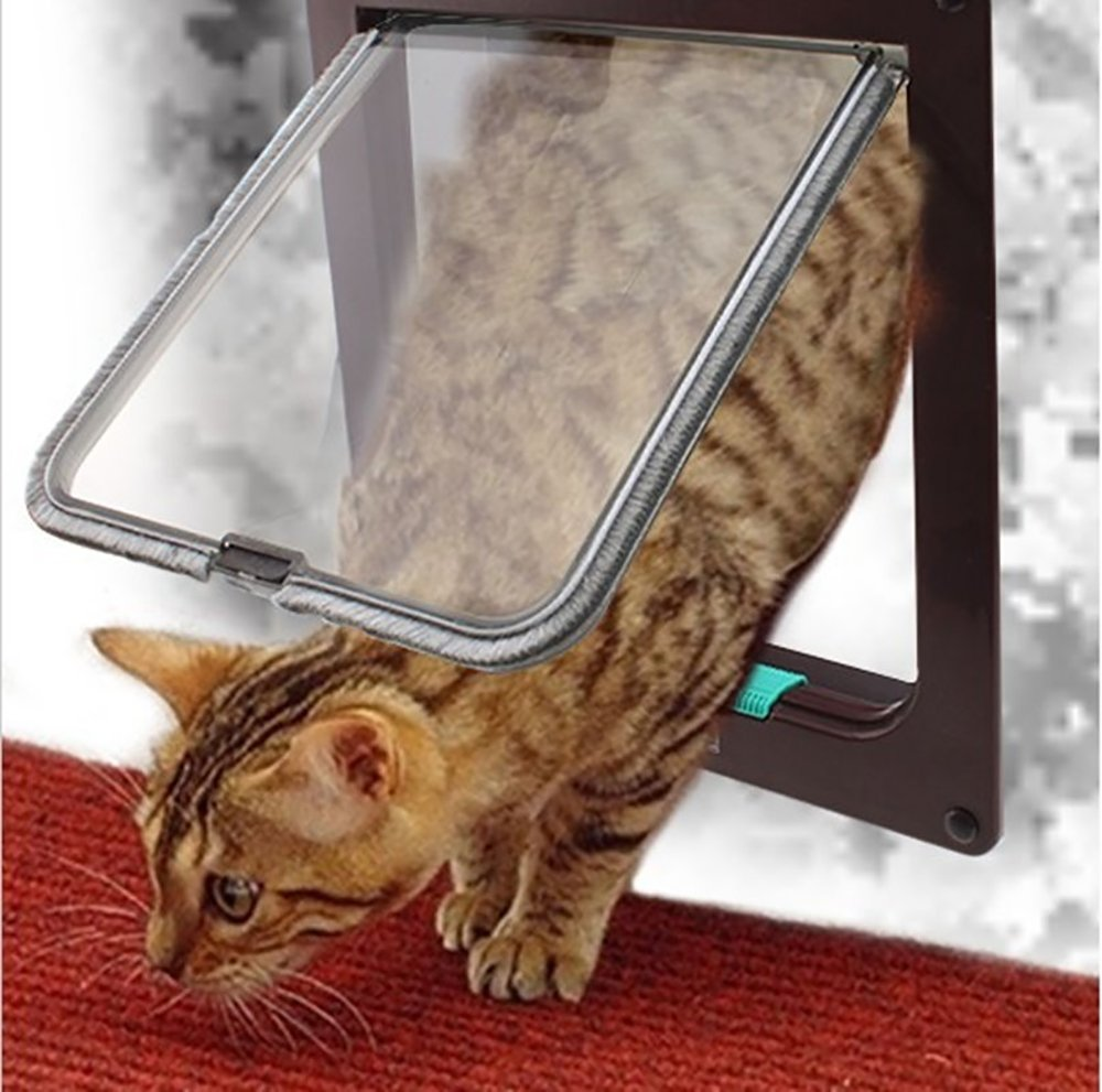 Pevor Pet Flap Door With 4 Way Lock - Lockable Safe Flap Door – For Cat Kitten Dog, Brown Large, 9.2x10x2.2 in