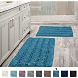 "Bathroom Rugs Slip-Resistant Extra Absorbent Soft and Fluffy Thick Striped Bath Mat Non Slip Microfiber Shag Floor Mat Dry Fast Waterproof Bath Mat (Set of 2-20"" x 32""/17"" x 24"")"